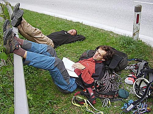 Odpočinek po lezenici v Höllentalu.