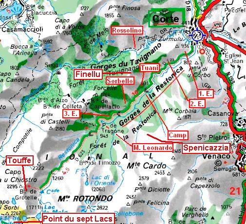 Mapa Restonica