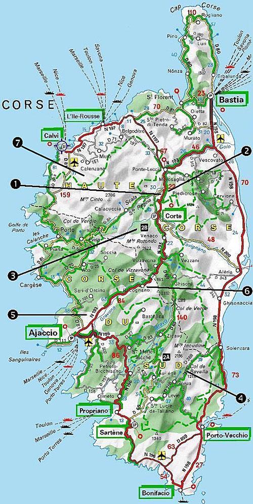Mapa lezeckých oblastí na Korsice