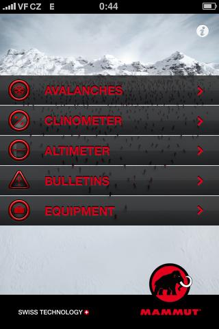 Mamut Safety: hlavní menu