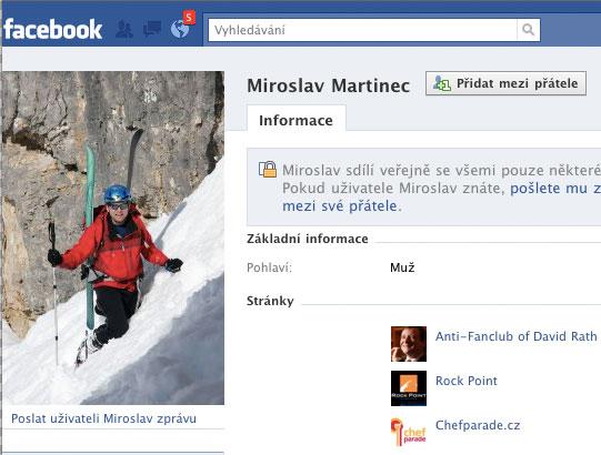 Martincova stránka na Facebooku. Na onen svět ani Facebook zprávy nedoručí