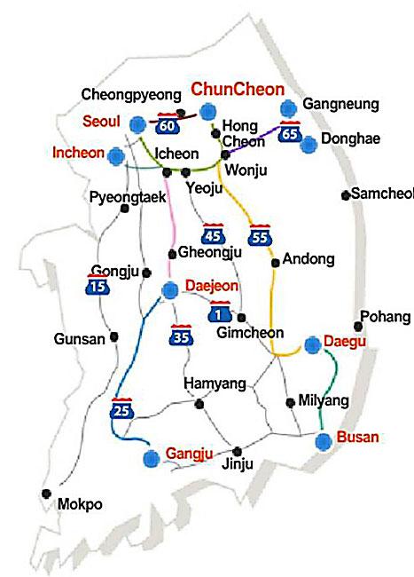 Mapka Jižní Koreje