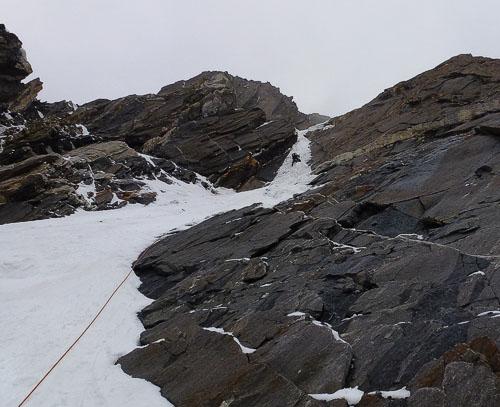 Výstup ledovým žlábkem