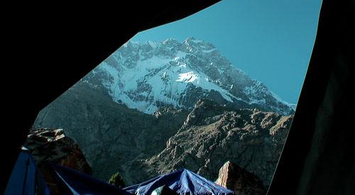 Výhled ze spacáku na Nanga Parbat
