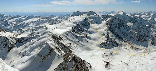 Suldenspitze, Monte Cevedale a refugio Pizzini