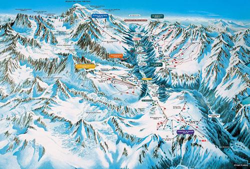 Orientační mapka Chamonix. Zdroj www.chamonix.net