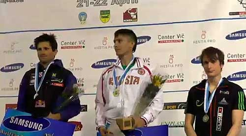 Vítězové zleva Fischhuber, Gelmanov, Tauporn
