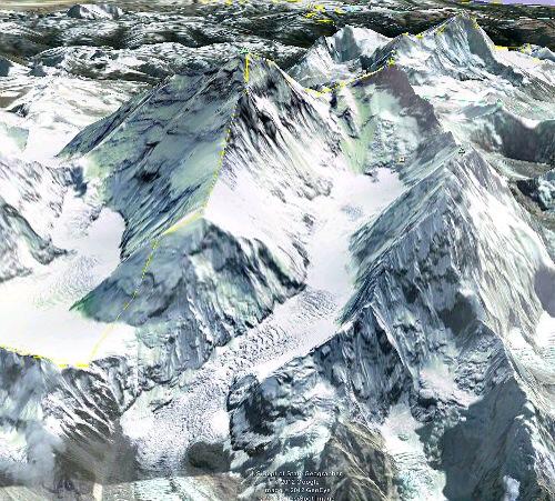Mount Everest od západu, jižní sedlo, Lhoce