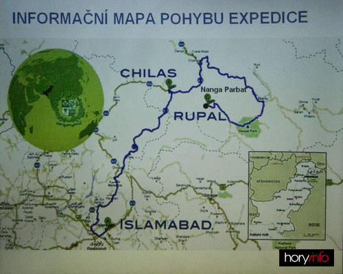 Mapa s trasou erxpedice