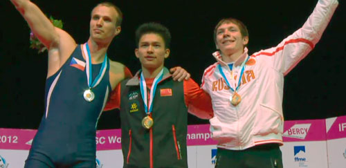 Tři nejrychlejší - Libor Hroza, Qixin Zhong, Dmitrij Timofeev