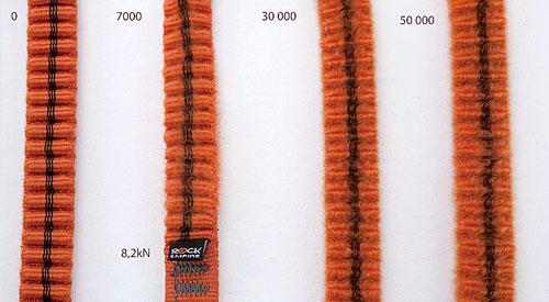 Různé stupně opotřebení harmonikových popruhů