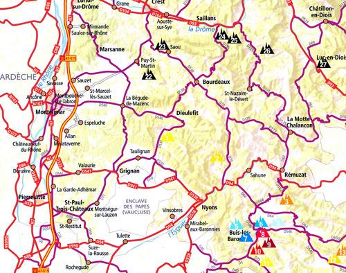 Mapka obsažených oblastí - barevné trojúhelníčky, ty černé mají být v dalších plánovaných dílech