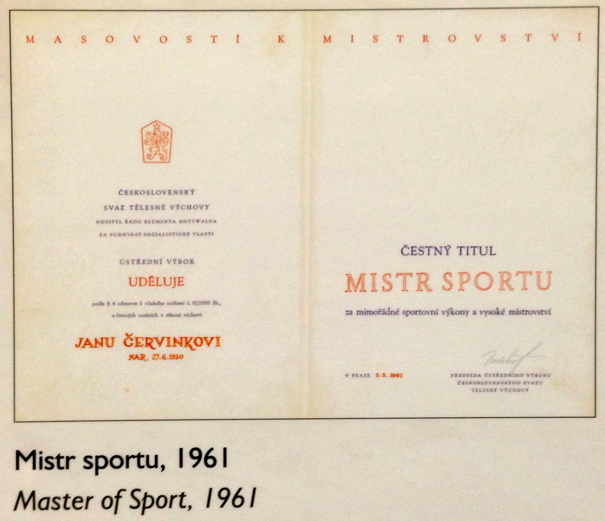 Diplom Mistra sportu