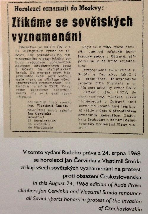 Zpráva o vrácení sovětských vyznamenání