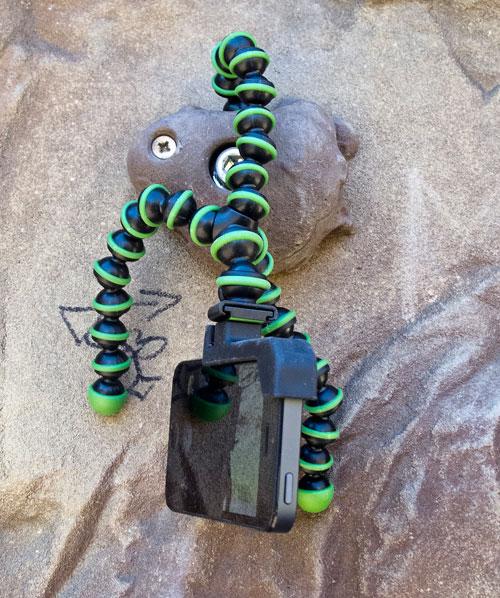 GorillaPod - při tomhle uspořádání se trochu třásl obraz