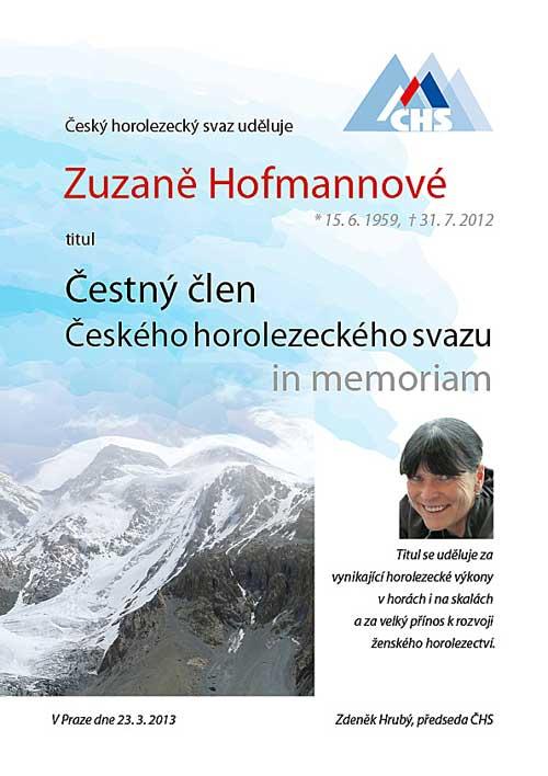 Diplom čestného člena in memoriam