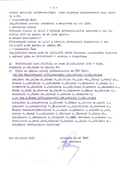 Zápis 4/1976 z jednání Výboru HS MV ČSTV Praha 3