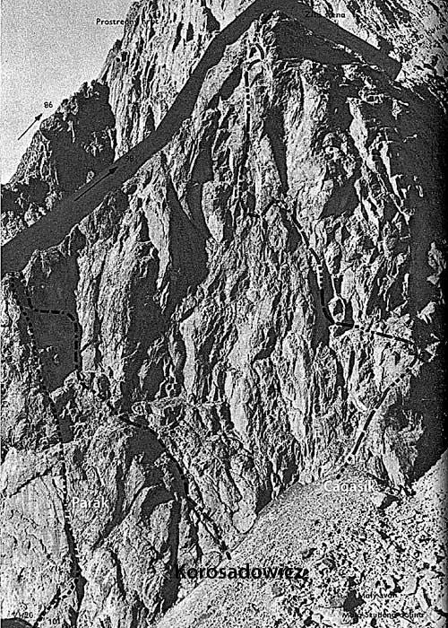 Schéma Žluté stěny z Puškášova průvodce