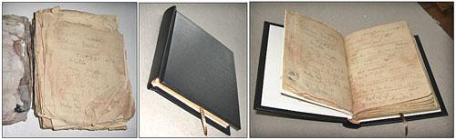 Malá ukázka výsledné renovace. Vrcholová knížka z věže Mumie – vlevo před renovací, další dva obrázky po renovaci..