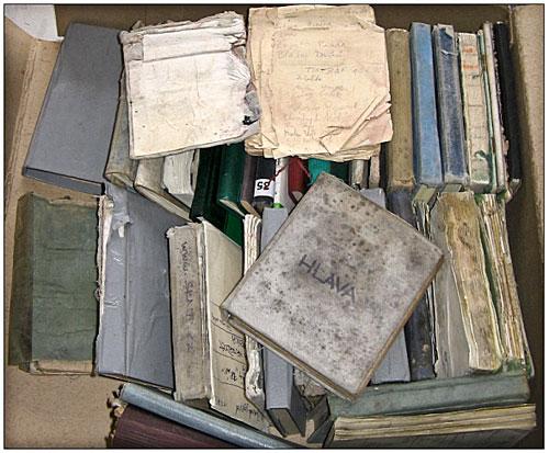Část knih, nachystaných k procesu renovace