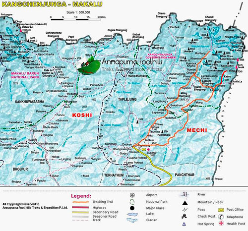 Mapka východního Nepálu