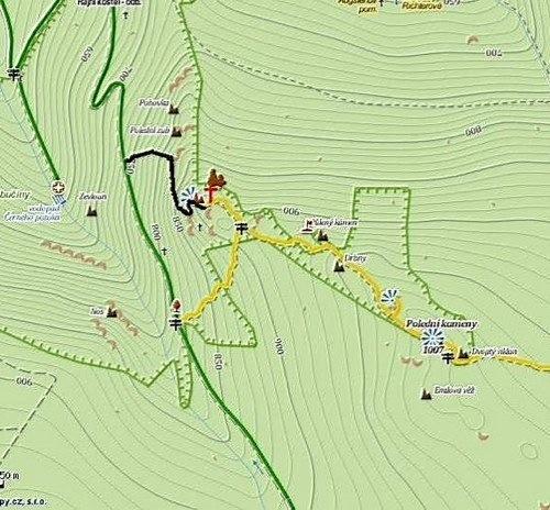 Zeleně je Kozí stezka, žlutě stávající odbočka na Frýdlantské cimbuří, červeně plánované vedení ferraty