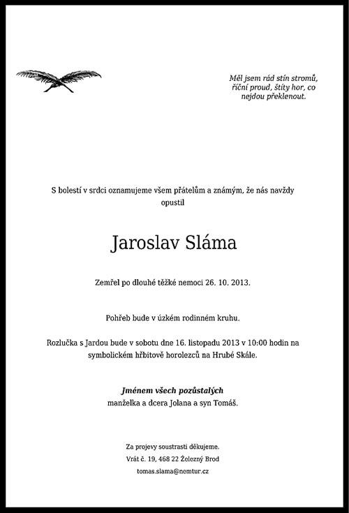 Jaroslav Sláma úmrtní oznámení