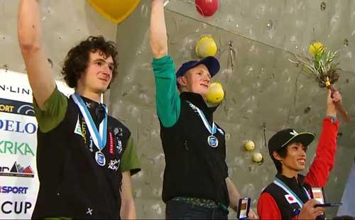 Adam Ondra, Jakob Schubert, Sači Amma, vítězové závodu