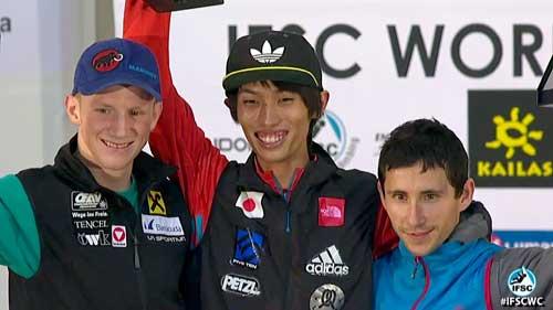 Vítězové SP 2013: Jakob Schubert, Sači Amma, Ramón J. Puigblanque
