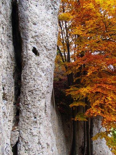 Pohled na pilíř s cestou Kaminpfeiler 7-