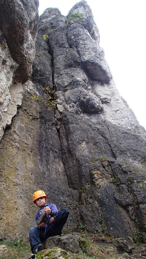 Jáchym pod asi nejvyšším pilířem oblasti Mittelbergwand