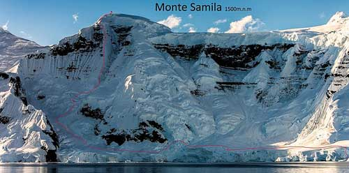 7.Nákres výstupu na Monte Samilu.