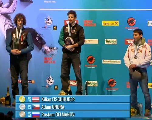 Adam Ondra, Kilian Fischhuber, Rustam Gelmanov