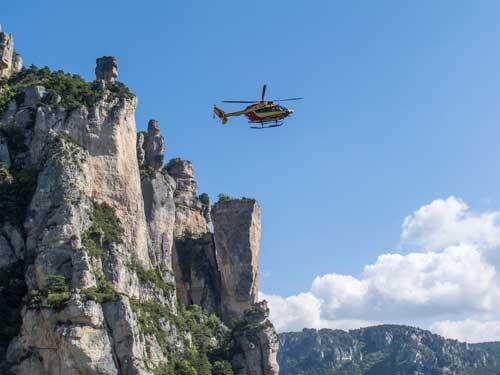 Vrtulník nad Rocher Decolée