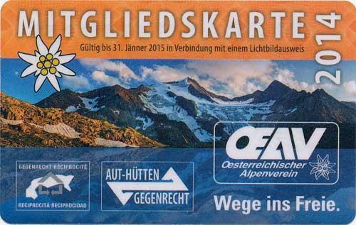Průkaz alpenverein 2014