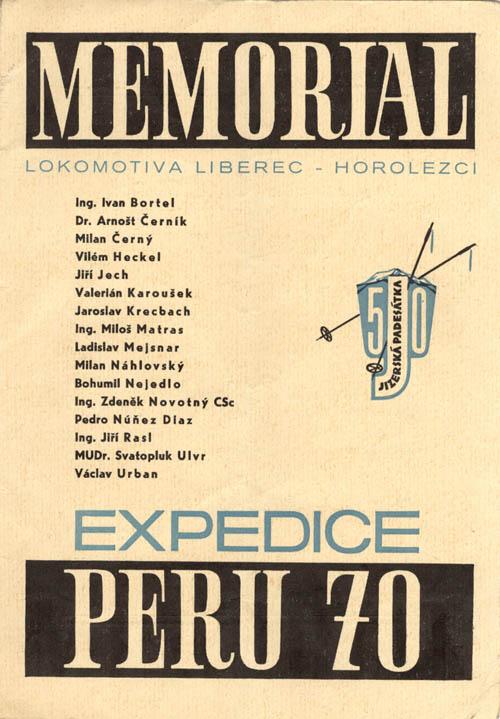 Memoriál Expedice Peru, titulní strana propozic