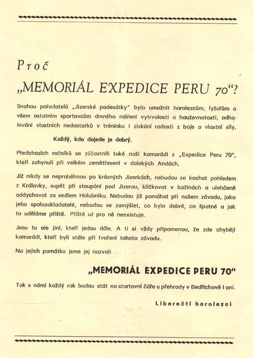 Memoriál Expedice Peru, zadní strana propozic