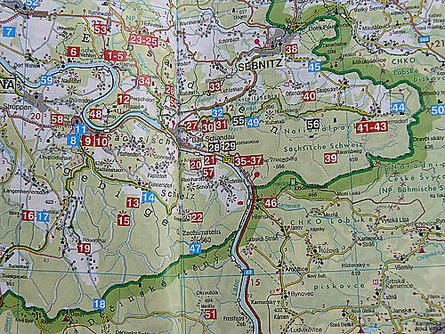 Elbsandsteingebirge mapka