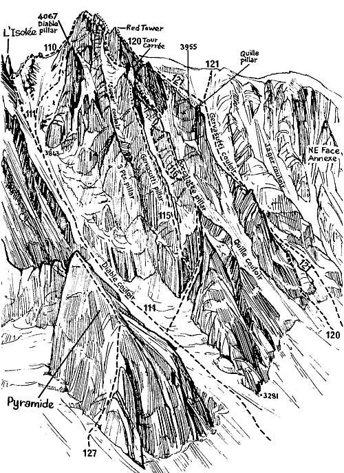 SV stěna Mont Blanc du Tacul