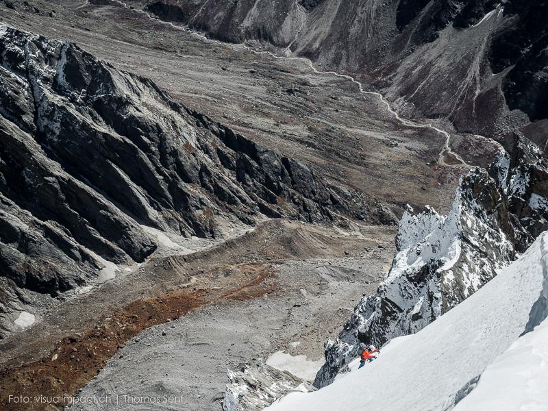 Stephan Siegrist v posledních metrech vrcholového sněhového svahu Te (Krystalu).