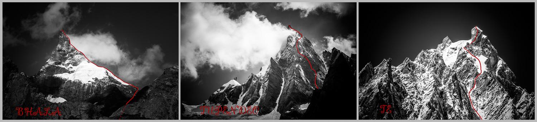 Zákresy cest na Bhala (Kopí) 5900 m, Tupendeo 5700 m a Te 5900 m