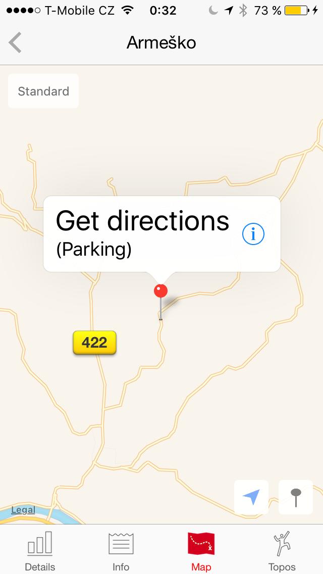 Možnost navigace (Apple maps)