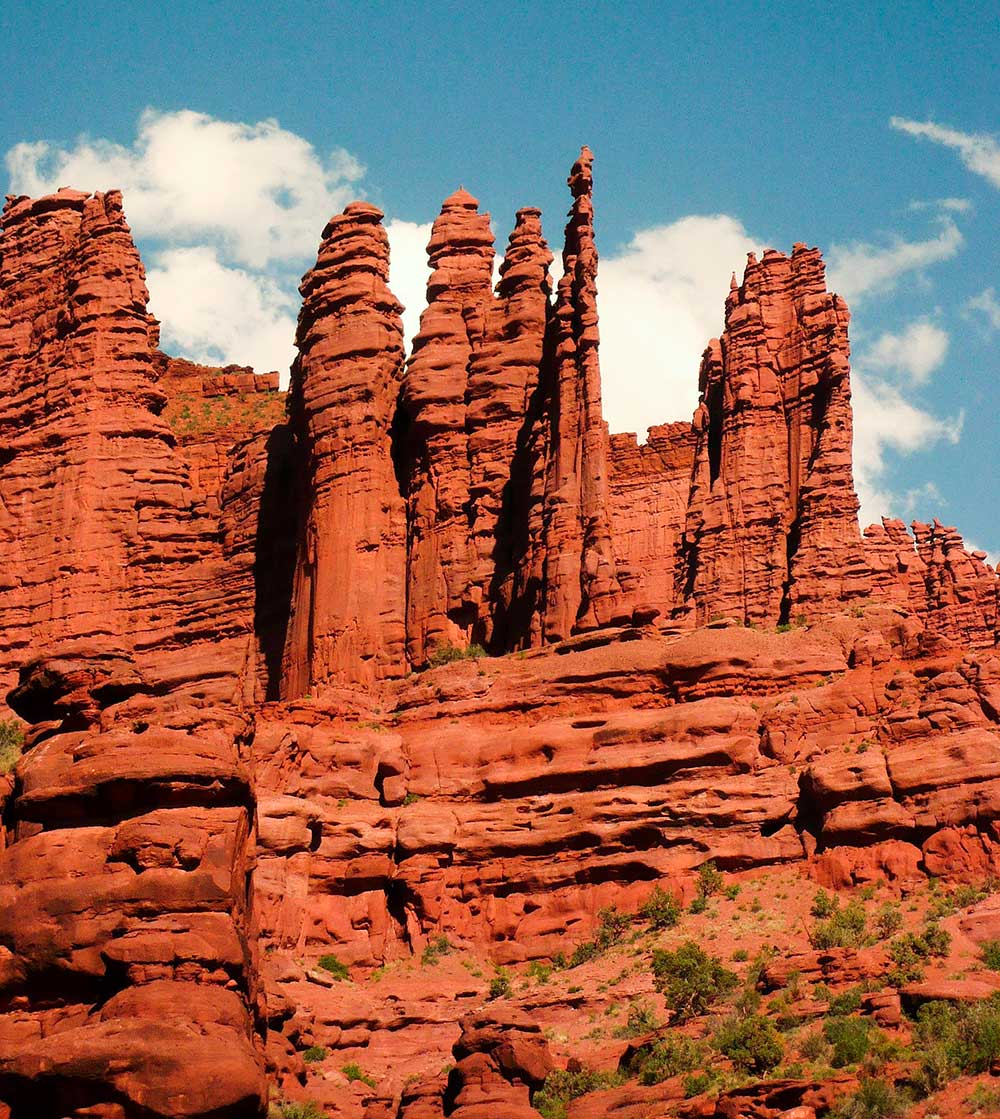 Utah - Fisher Towers, uprostřed Ancient Art