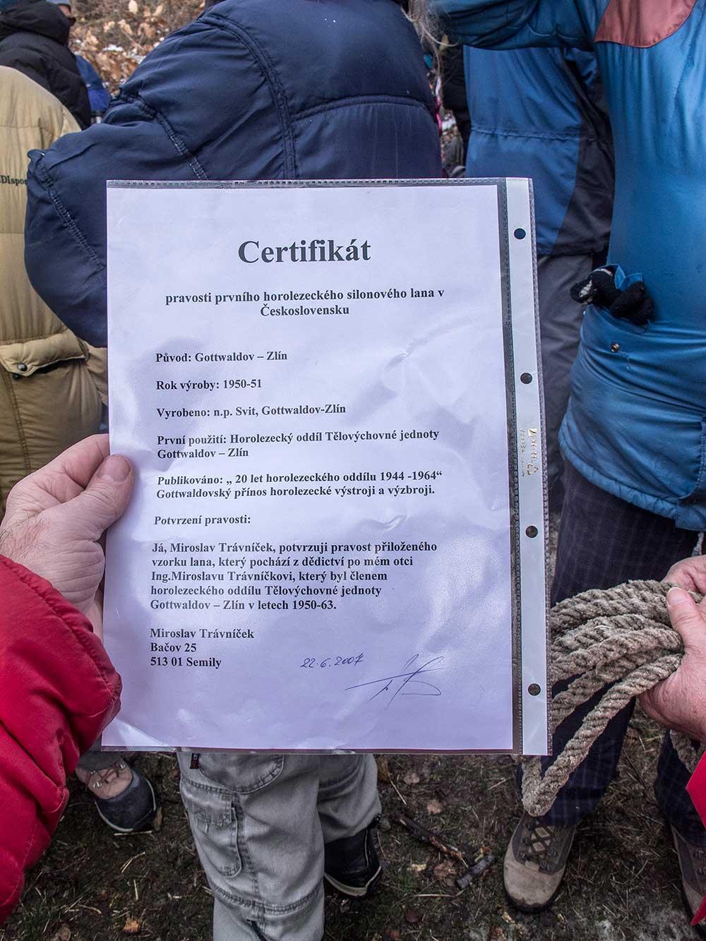 Certifikát pravosti prvního českého lana