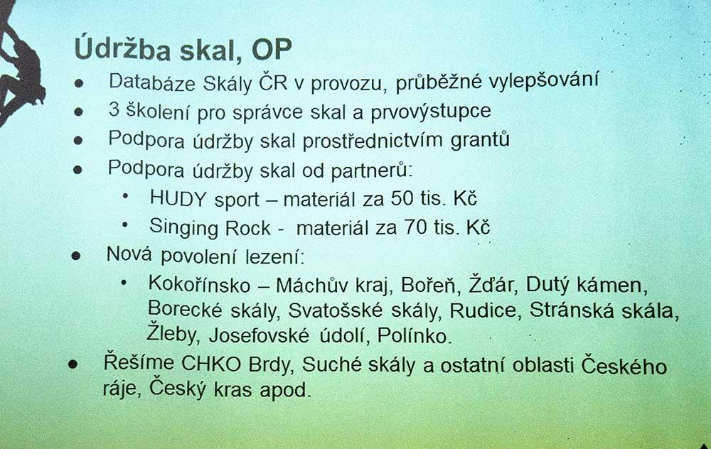 Zpráva o činnosti 7 - údržba skal