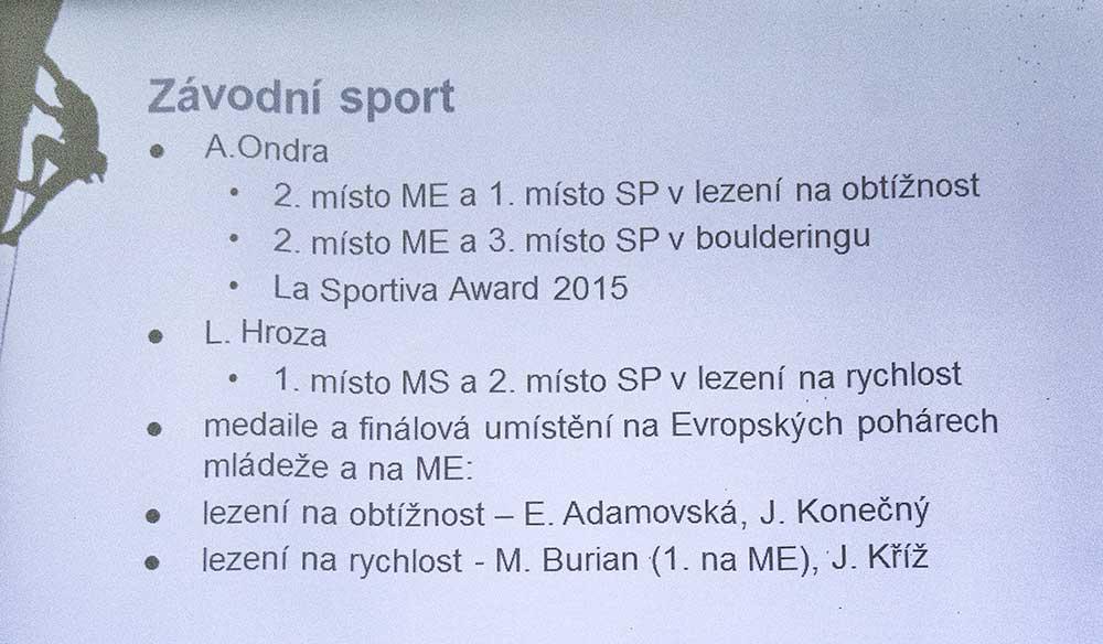Zpráva o činnosti - závodní sport