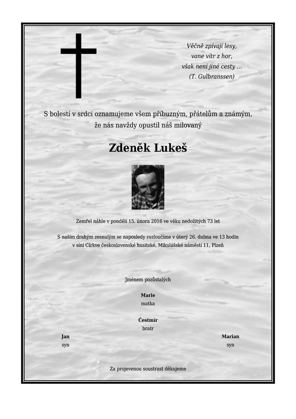 Úmrtní oznámení Zdeňka Lukeše