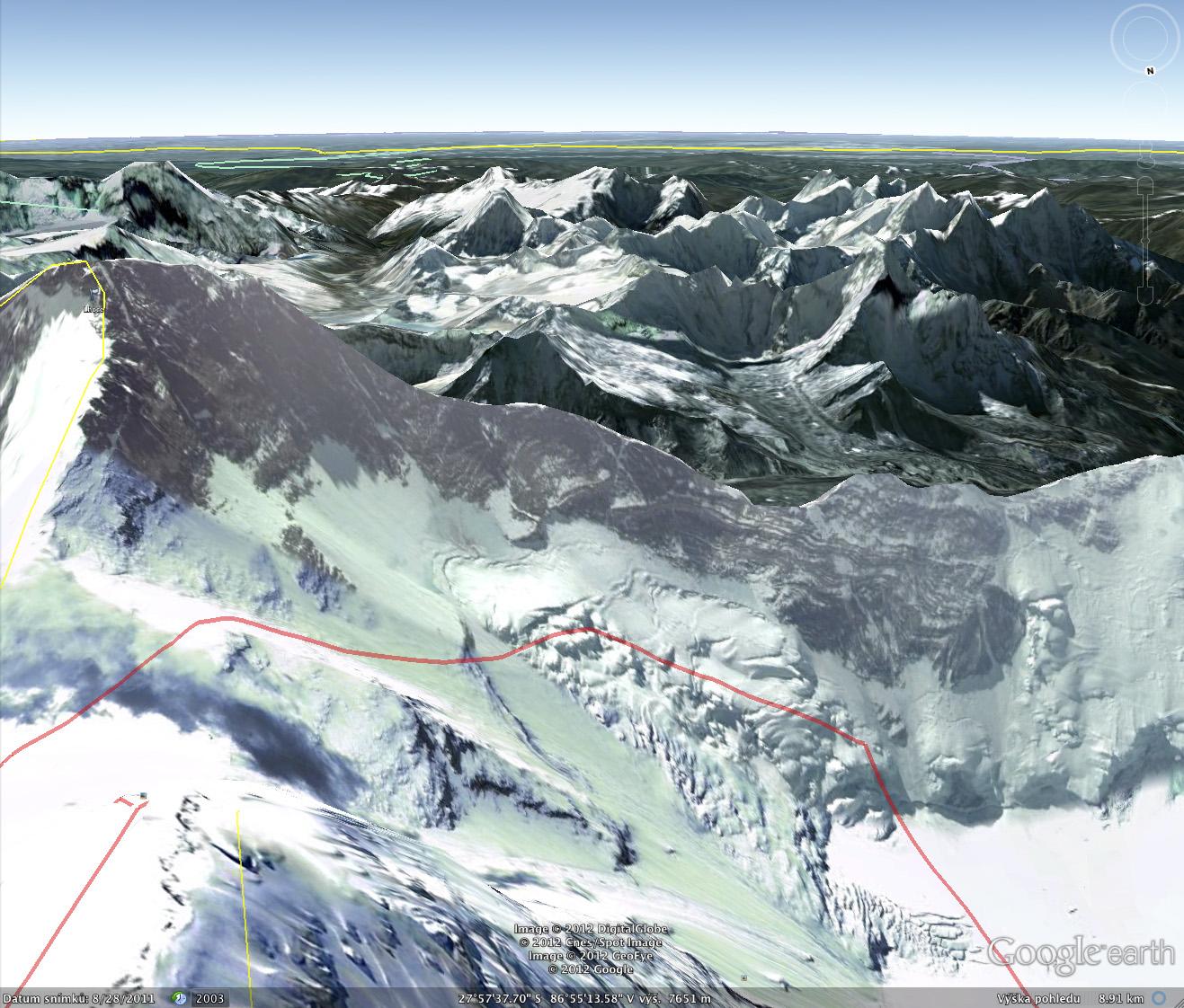 Pohled z Google Earth, Lhotse z Everestu