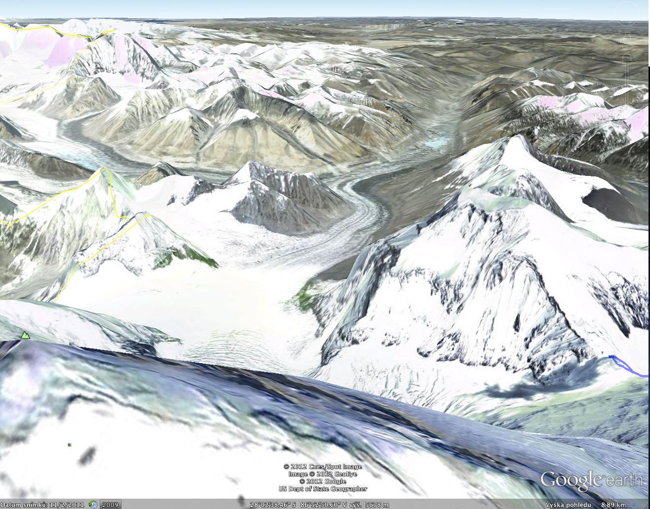 Google Earth, pohled se severního hřebene z předvrcholu