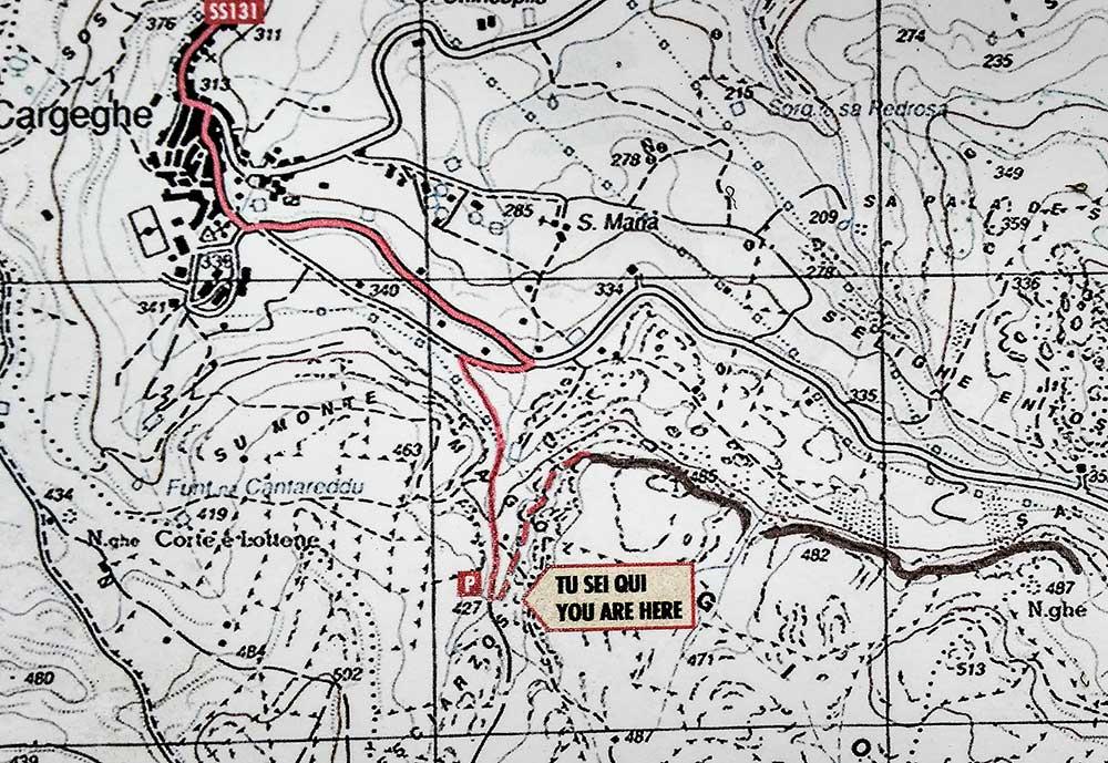 Mapka nástupu na ferratu Giorré
